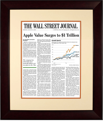 $230 • Buy Apple $1 Trillion | The Wall Street Journal, Framed Article Reprint, Aug. 3, 201