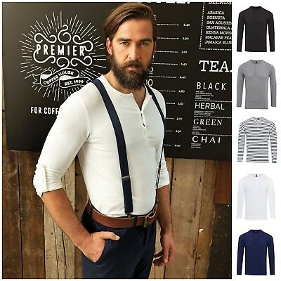 Mens Long Roll Sleeve Barista Shirt Top Henley Grandad Collarless Button Breton • 13.50£