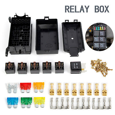 AU30.59 • Buy 6 Way Blade Fuse Box Relay Holder Socket With Terminals 80A Relay For Car Truck