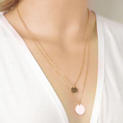 £5.08 • Buy -UK- Gold Tone Hammered Double Disc Coin Pendant Link Chain Necklace Hot BOHO