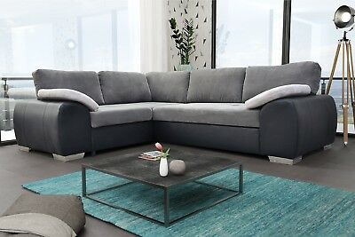 New Corner Sofa Bed Enduro Grey Fabric & Faux Leather With Storage • 669£