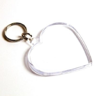 CLEAR ACRYLIC HEART PHOTO KEYRING - PERSONALISE (Image Size 58MM X 50MM) • 2.25£