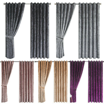 Luxury Crushed Velvet Curtains Ready Made Lined Eyelet Ring Top 10 Uk Sizes • 26.34£