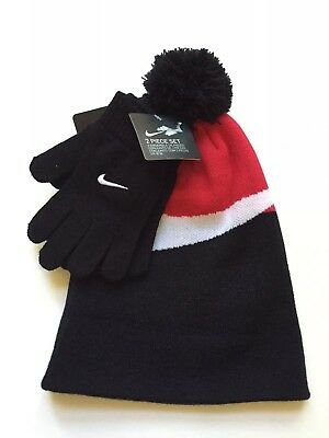 2b4109c1b16 Nike Boys 2 Piece Winter Set Pom Pom Hat Gloves Black Red 8-20 Swoosh