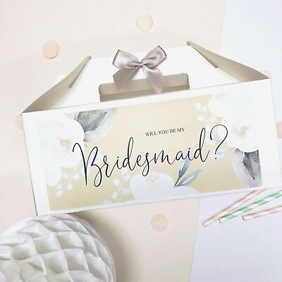 Personalised Wedding Gift Box | White Rose | Will You Be My Bridesmaid Proposal • 2.49£