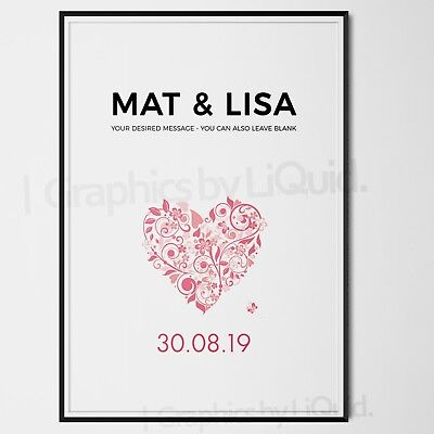 AU15.08 • Buy Personalised Valentines Day Gifts For Her Him Wife Love Heart | A5 A4 A3