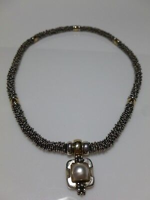 $250 • Buy Michael Dawkins Sterling Silver Mabe Pearl Dot Snake Chain Necklace Pendant Set