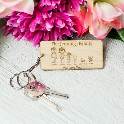 Personalised Wooden Family Keyring Mothers Day Gift Engraved Mum Nanny Granny PL • 3.99£