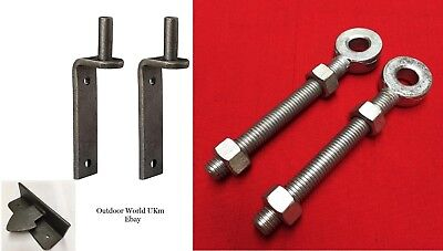 12mm Wrought Iron Gate Metal Hinges Hangers Latch Keep Wall Brick Post Fittings. • 29.99£