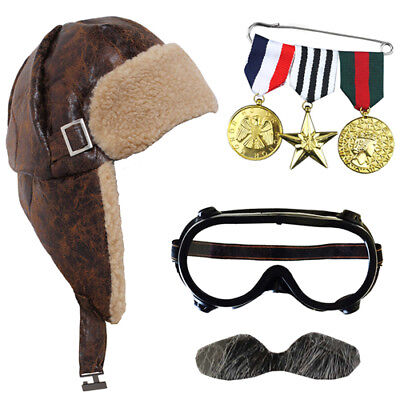 £12.99 • Buy Escaping Grandad Fancy Dress Aviator Flying Hat And Goggles World Book Day
