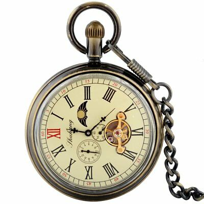 £20.98 • Buy Bronze Vintage Moon Phase Tourbillon Mechanical Pocket Watch Chain Fob Open Face