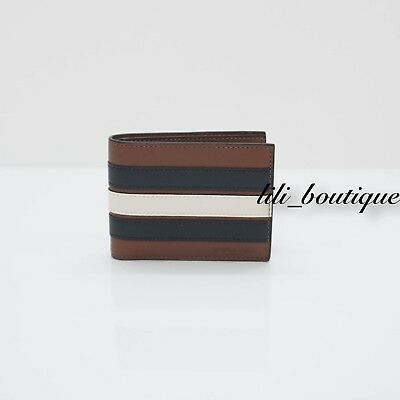 5fe6ef8b01c6 NWT Coach F26171 Men s Slim Billfold Varsity Stripe Leather Wallet Saddle  Multi • 44.85