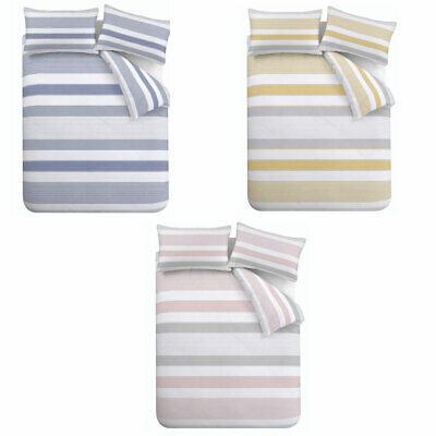 Catherine Lansfield Newquay Stripe Easy Care Duvet Cover Set • 23.49£