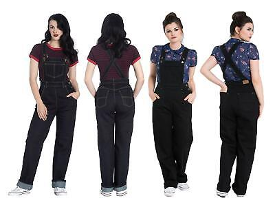Hell Bunny Ella May Rockabilly Vintage Style Contrast Stitching Denim Dungarees • 39.99£