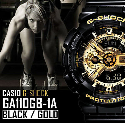 View Details New Casio G Shock G-shock Ga 110 Gb 1a Black / Gold Xl Dial Resin Band Watch • 67.95£