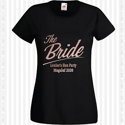 £8.95 • Buy Personalised Rose Gold Hen T Shirts Do Party Night Bride T-Shirt Custom Ladies