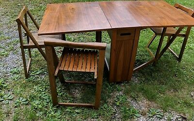VINTAGE WOOD Frame FOLDING CARD TABLE With 3 Chairs That Fold Inside Table \u2022 50.00$ Vintage Card | Compare Prices on dealsan.com