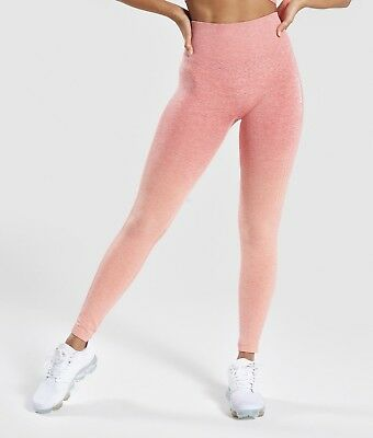 b13256cbd0 Gymshark Ombre Seamless Sports Bra   Leggings Gym Peach Coral Set Medium   BNWT  •