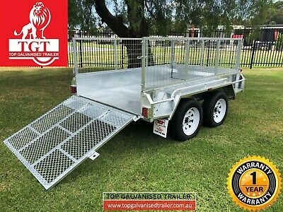 AU3800 • Buy 8x5 Trailer Tandem Galvanised With 1.2m Ramp 600mm Cage 2t ATM, New Tyres