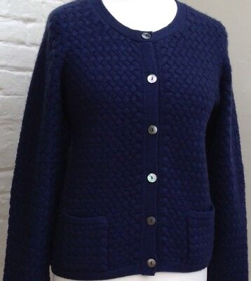 N.Peal 100% Cashmere Ladies  Navy Blue Cardigan Size L 1618 • 150£