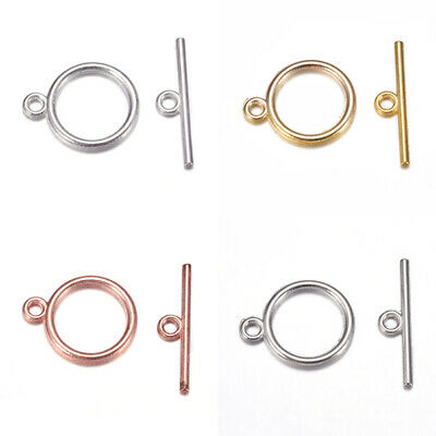 £3.95 • Buy 25 Round Plain Toggle Sets Clasps Jewellery 14mm X 18mm - Pick A Colour (F400N)