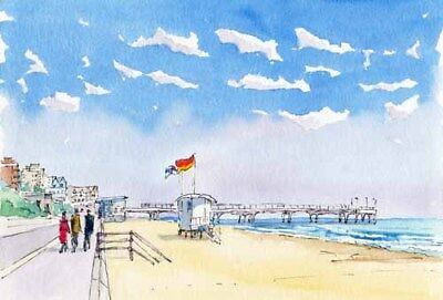 £5 • Buy Boscombe Seafront And Pier Watercolour Artist Doug Myers A5 Print 1047