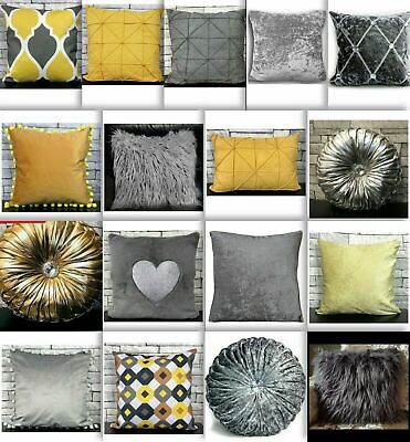 Cushion Cover Or Filled Cushion Crush Velvet Shaggy Mustard Silver NEW 17 X 17  • 10.99£