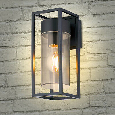LED Rectangular Outdoor Wall Light Clear Metal Lantern Garden Wall Lamp ZLC079 • 23.99£
