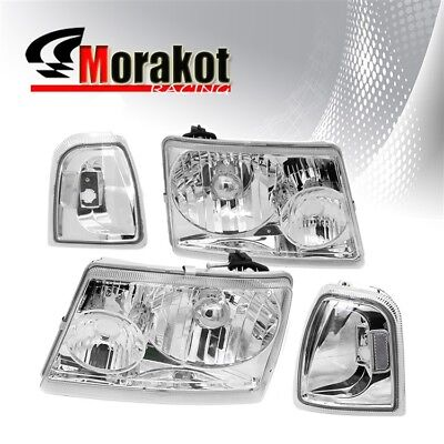 $79.53 • Buy For 01-05 Ford Ranger 2 Piece Chrome Housing Headlights Clear Corner Reflector