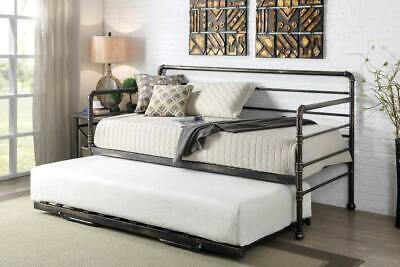 £249.99 • Buy Modern Metal Day Bed With Trundle Guest Bed Silver / Antique Bronze Single Size