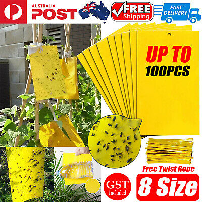 AU12.29 • Buy Up To 100pcs Yellow Sticky Glue Paper Insect Trap Catcher Indoor Fly Aphids Wasp