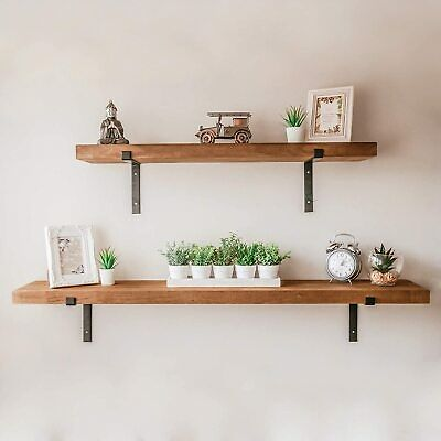 £29.89 • Buy Large Rustic Wooden Wall Shelf Industrial Storage Shelving Unit 100cm Or 140cm