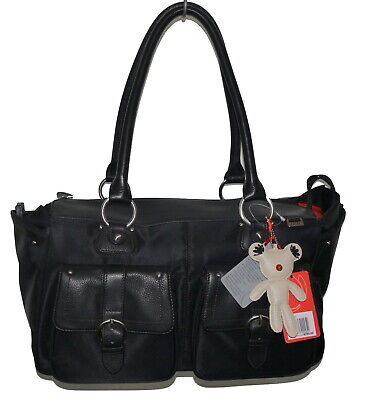 Il Tutto Ava Black Leather + Vinyl Changing Nappy Bag & Accessories NWT SP £149 • 49.50£