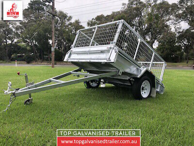 AU2350 • Buy 7x5 Single Axle Trailer With 600mm Cage 750kg ATM Galvanised Tipper Fully Welded