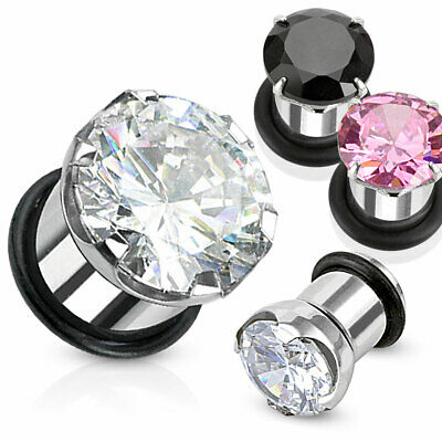 4mm Surgical Steel Ear Tunnel / Plug + Pink Claw Set CZ ~ Stretched Piercing • 2.75£