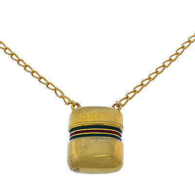 AU1036 • Buy Gucci Necklace Pendant Gold Green Woman Authentic Used Y2130