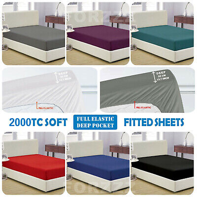 AU24.97 • Buy 1000TC Ultra Soft Fitted Sheet Super King/King/Queen/Double/K Single/Single Bed