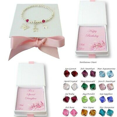 Birthstone Bracelet With Charm, Gift For Daughter, Mum, Nanny, Sister Etc • 11.99£