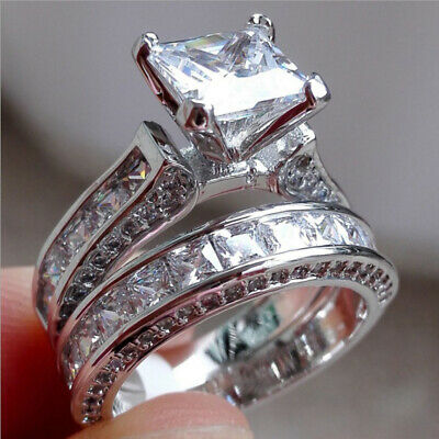 2PCS Women Crystal 925 Silver Plated Wedding Engagement Rings Band Ring Set • 4.49£