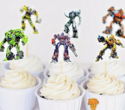 24pcs Transformers Cupcake Cake Toppers Decoration Kids Boys Birthday Party O 659