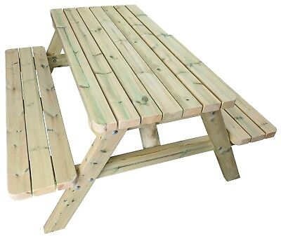 £350 • Buy Heavy Duty Wooden Picnic Table Made With Chunky Redwood 4-8 Seater Pub Benches