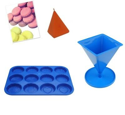 Set X 2 Pyramid Candle Mould With Base & Wax Melt Tart Tray, Swirl, Heart S7757 • 7.20£
