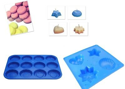 Set X 2, 4 Shape Candle Mould Tray & Wax Melt Tart Tray, Swirl, Heart Etc S7759 • 9£