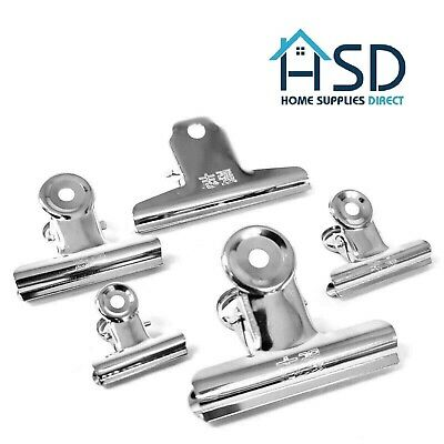Chrome Metal Silver Grip Clip Letter Binder Paper Clamp Bulldog Clips Office NEW • 1.79£