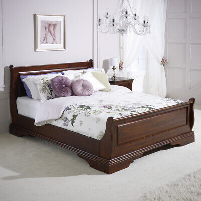 £699 • Buy French Solid Hardwood 6ft Super King Size Mahogany Stained Sleigh Bed - HW06