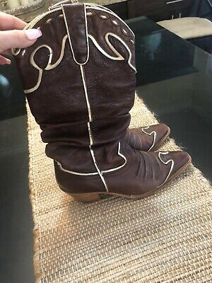 $30 • Buy VTG NaNa Brown Gold Leather Wing Tip Slouch Cowboy Western Boots 8
