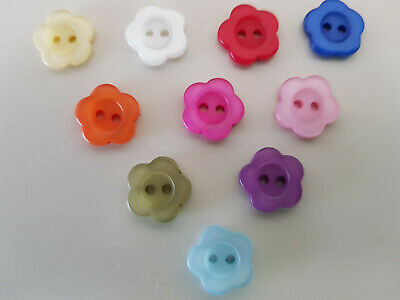 10 20 50 Or 100 Baby/Children's Flower Buttons 14 Mm Red Green Purple Pink White • 2£