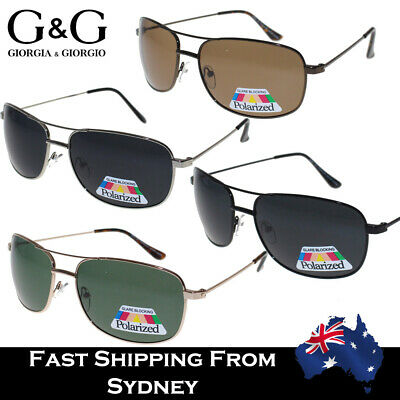 AU17.95 • Buy Mens Polarized Sunglasses Aviator Metal Frame Eyewear UV 400 Black Brown Green