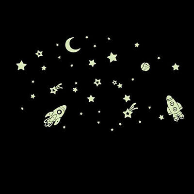 Luminous Wall Sticker Spaceship Vinyl Stickers Room Home Furniture Decoration 6A • 2.09£