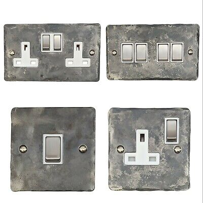 £18.50 • Buy Rustic Silver Flat Plate FR2 Plug Sockets, Light Switches, Dimmers, Cooker, Fuse